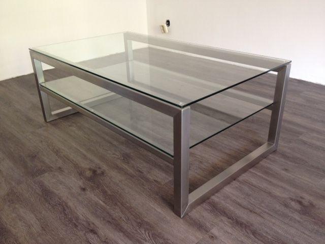 Rvs salontafel met glas hagendijk techniek metaalbewerkingsbedrijf